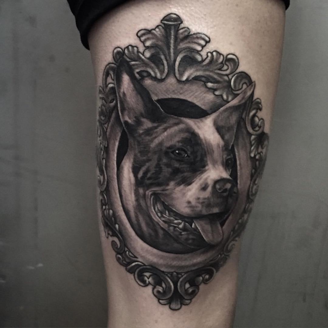 8 wonderful dog tattoos on thigh. Black Bedroom Furniture Sets. Home Design Ideas