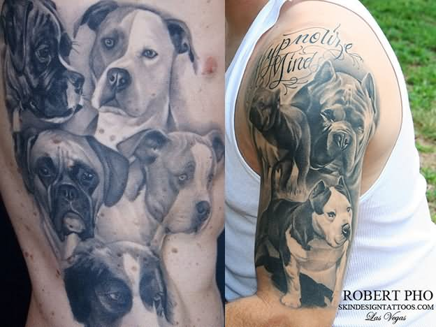 16 fantastic half sleeve dog tattoos. Black Bedroom Furniture Sets. Home Design Ideas