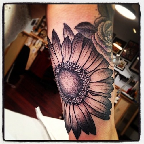 White Daisy Tattoo: 40+ Black And White Daisy Tattoos