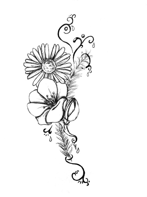 Daisy Tattoo Outline: 40+ Black And White Daisy Tattoos