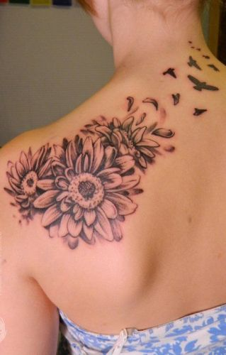 yellow and pink two daisy flower tattoo on right back shoulder. Black Bedroom Furniture Sets. Home Design Ideas