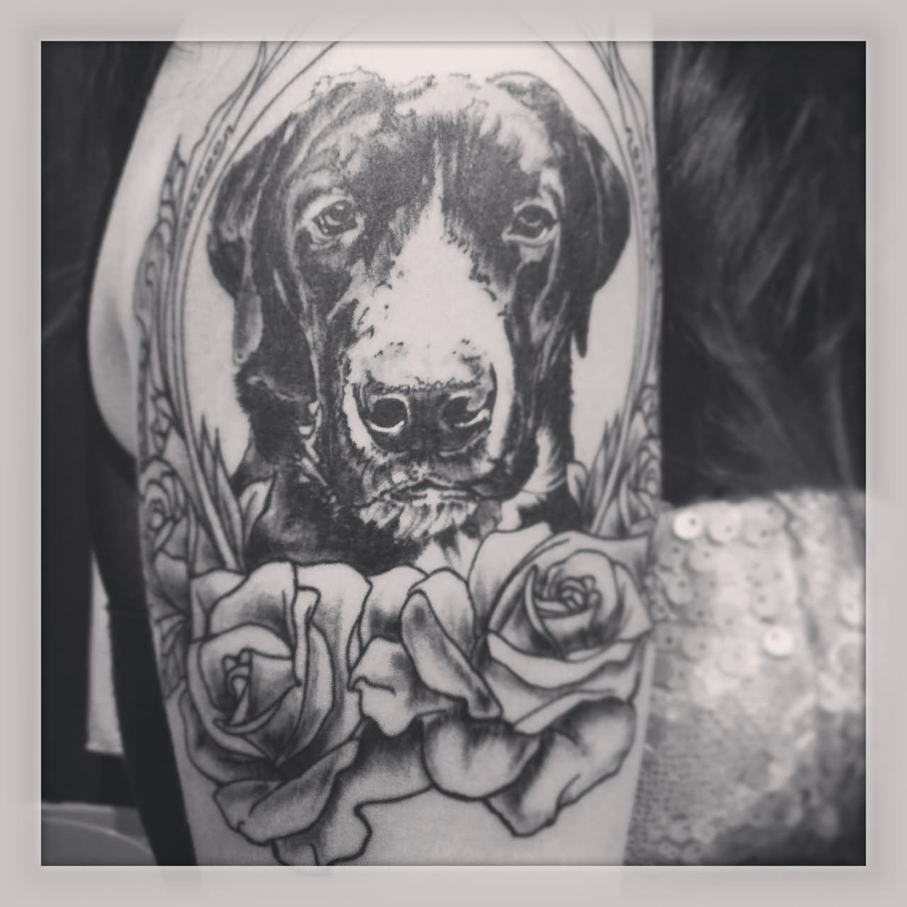 White Ink Rose Shoulder Tattoo