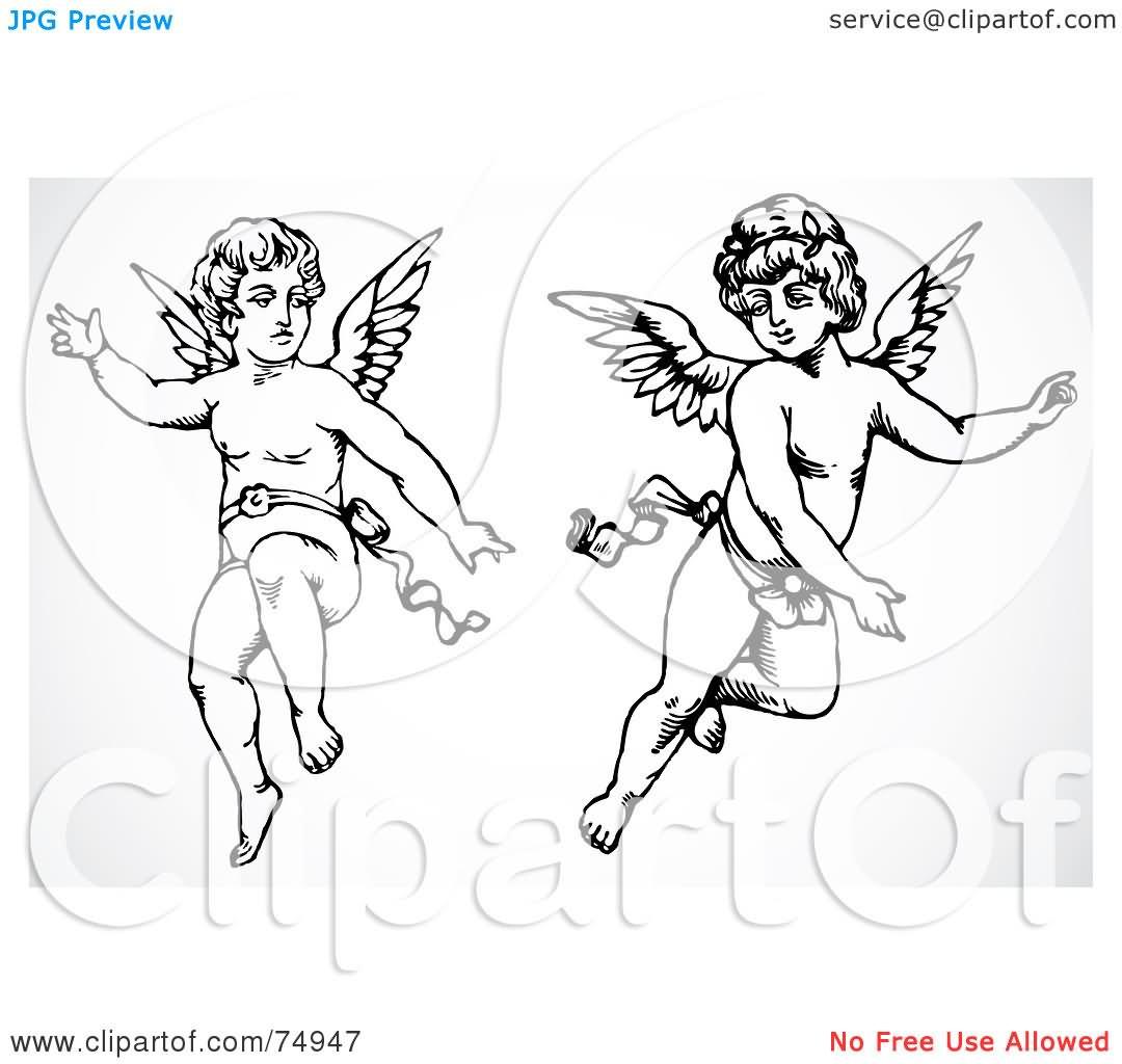 25 cute cupid cherub tattoo designs. Black Bedroom Furniture Sets. Home Design Ideas