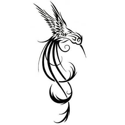 Tribal Hummingbird And Flower Tattoo