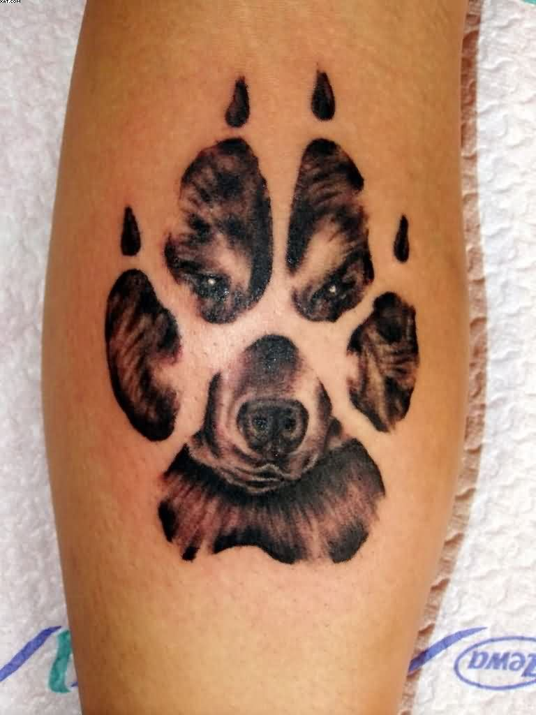 30 best dog paw tattoos dog face in paw print tattoo design for leg biocorpaavc