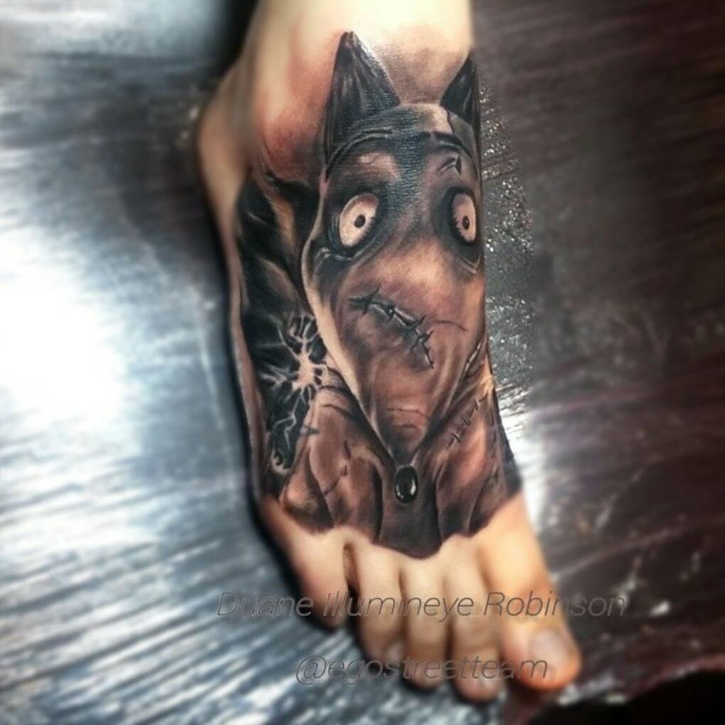 30 best dog paw tattoos frankenweenie sparky dog tattoo on foot biocorpaavc