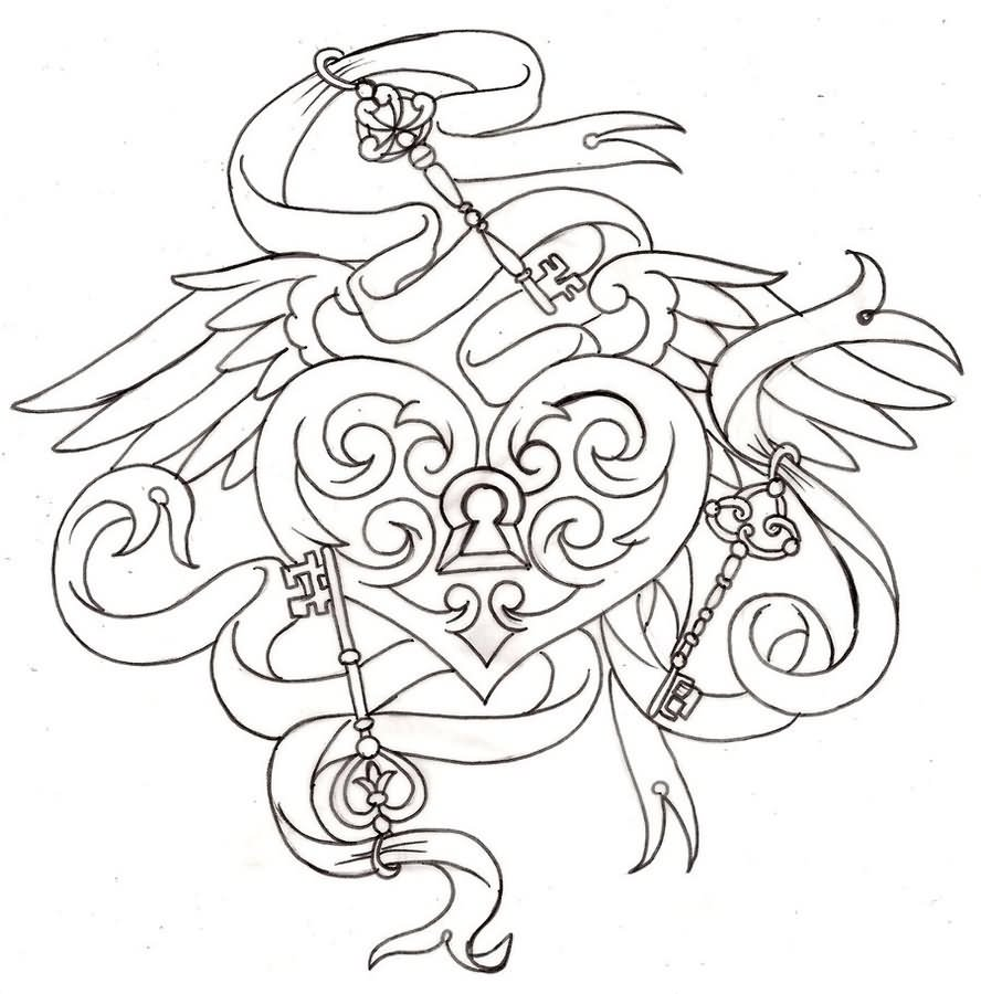 Pics photos heart lock flowers n key tattoo design - Heart Lock With Keys And Wings Tattoo Stencil