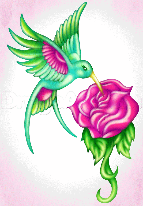 0cb1ad577 Pink And Green Flying Hummingbird With Rose Tattoo Design