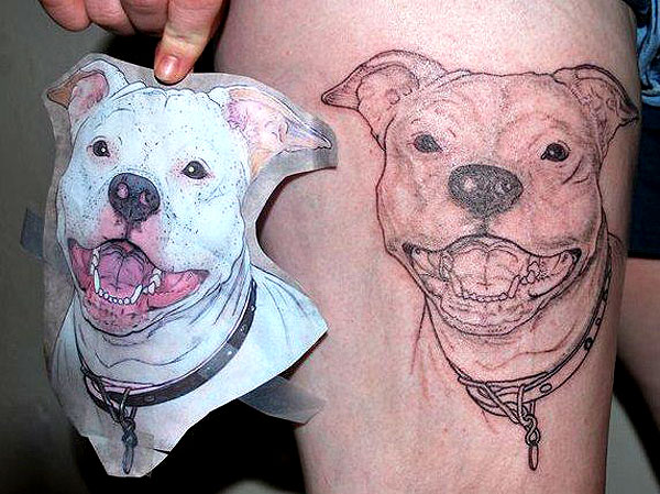8 wonderful dog tattoos on thigh. Black Bedroom Furniture Sets. Home Design Ideas
