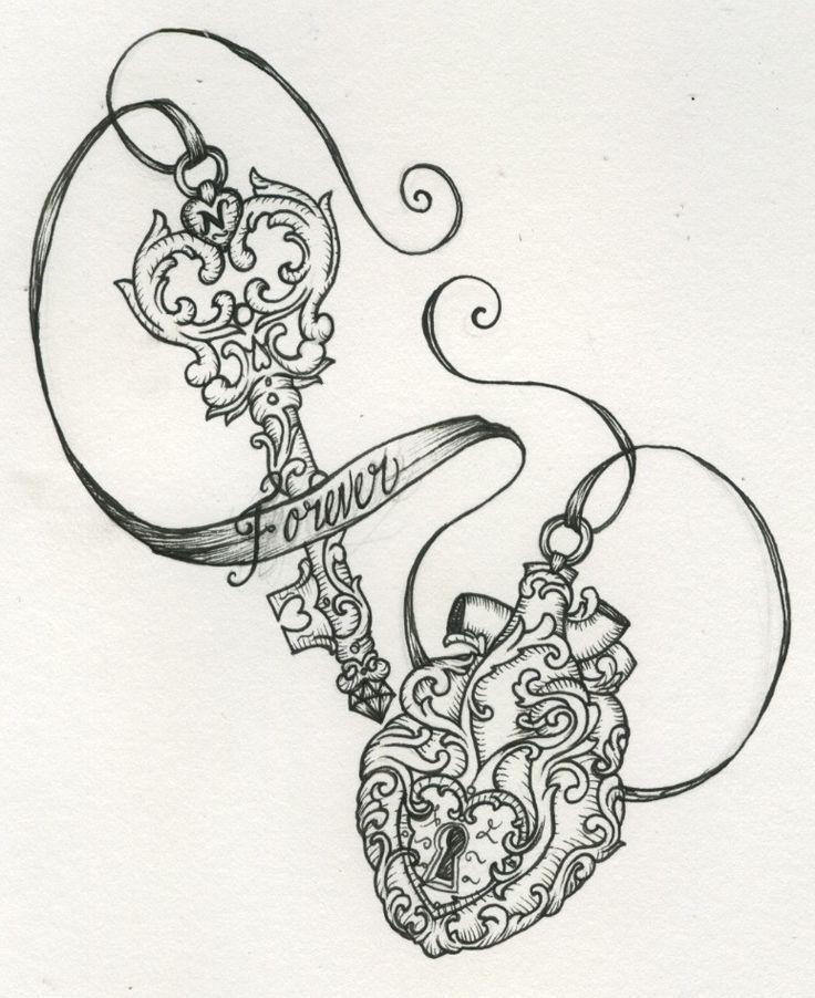 6 simple key tattoo designs for Heart lock and key tattoo