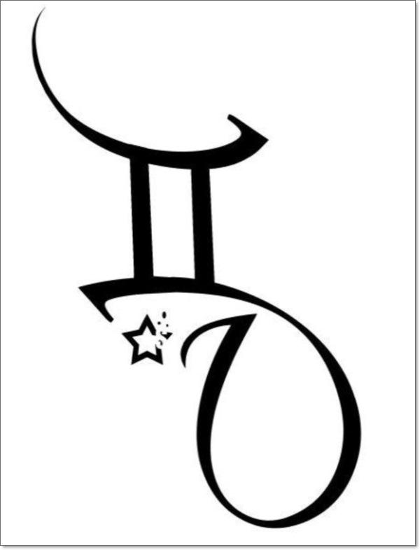 b7a9d5717 Stars And Tribal Gemini Zodiac Symbol Tattoo Design