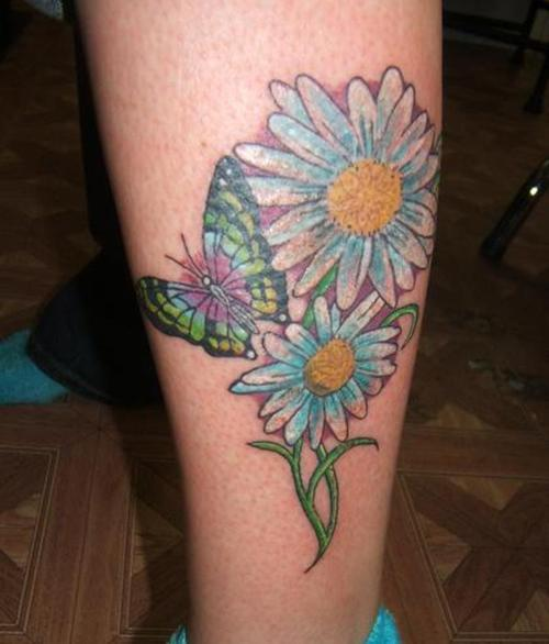 b07046e8e Two Daisy Flowers With Butterfly Tattoo On Leg