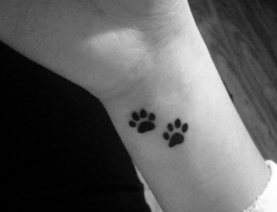 05282ab62 Two Dog Paw Prints Tattoo Design For Wrist