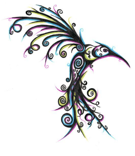 b30290642 Unique Colorful Flying Hummingbird Tattoo Design
