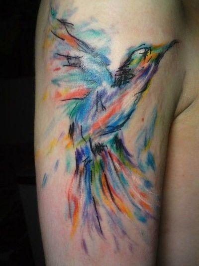 7a9ae6e1eb523 Watercolor Hummingbird Tattoo On Half Sleeve By Donna