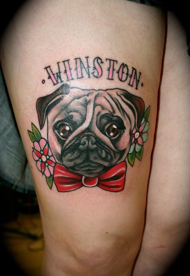 Winston Traditional Pug Dog With Flowers Tattoo On Thigh - Neo Traditional Tattoo Dog