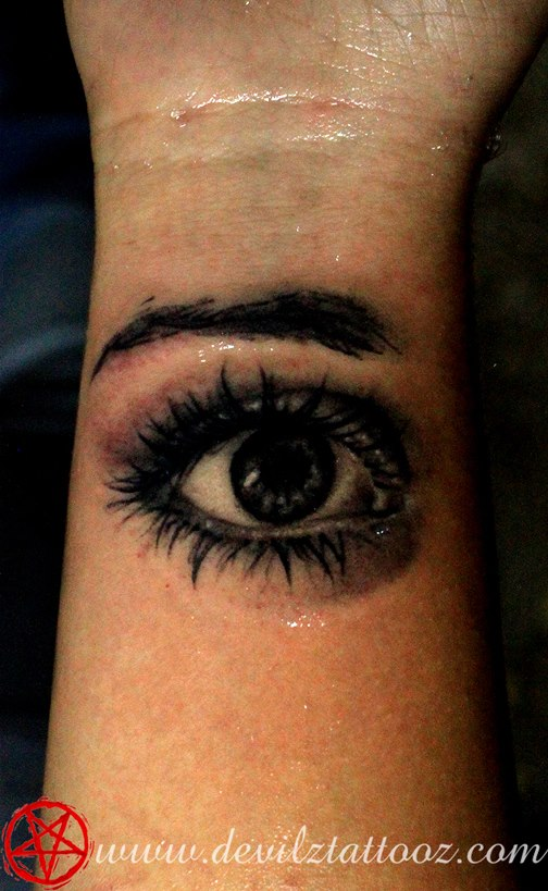3D Black Ink Eye Tattoo Design For Wrist