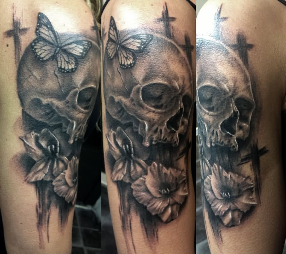 3d Death Skull With Butterfly And Flower Tattoo Design For Half