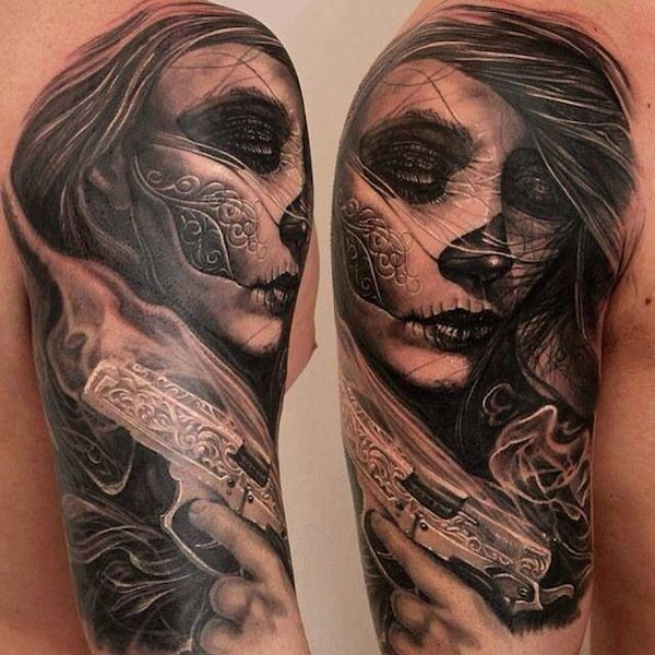 30 incredible dia de los muertos tattoos on half sleeve. Black Bedroom Furniture Sets. Home Design Ideas