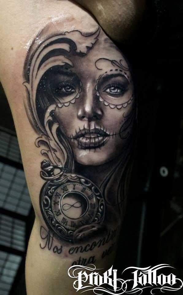 6 Dia De Los Muertos Tattoos On Thigh