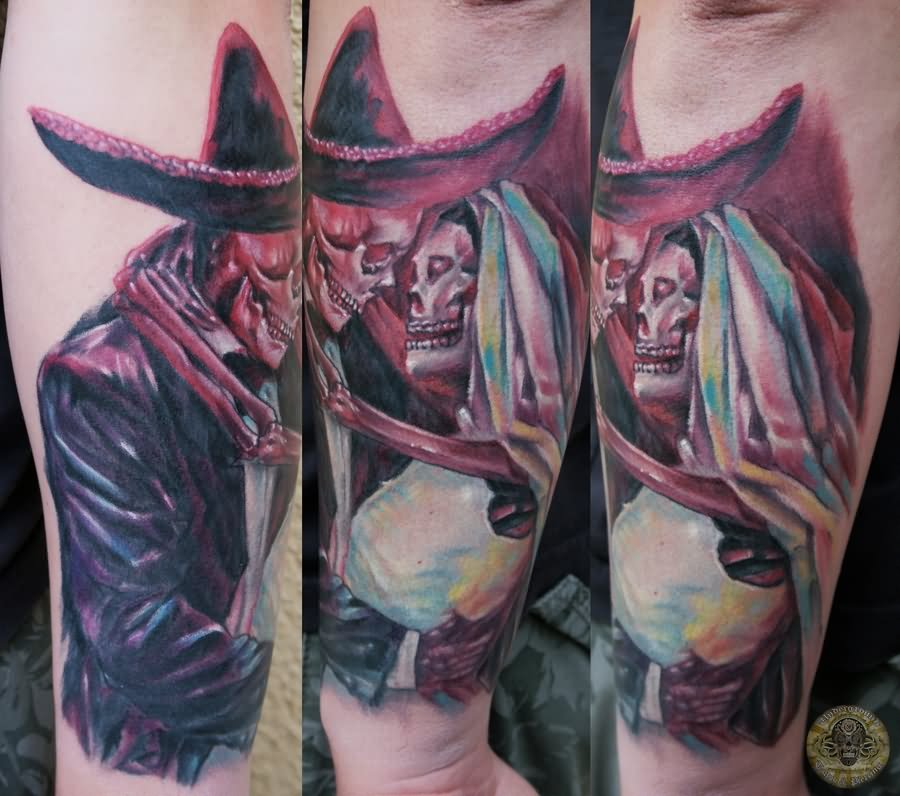 26 dia de los muertos couple tattoos. Black Bedroom Furniture Sets. Home Design Ideas