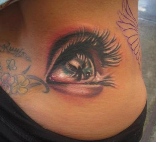 3D Eye Tattoo Design For Side Rib