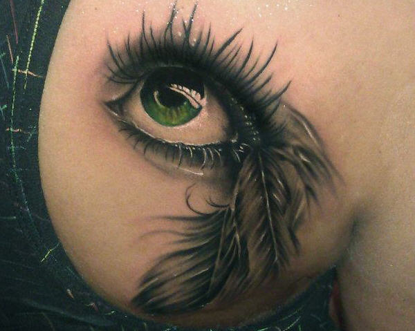 3D Eye With Feathers Tattoo On Right Back Shoulder
