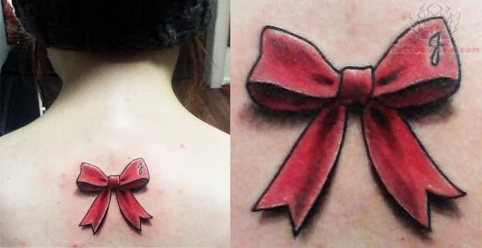 8+ Awesome Ribbon Tattoos On Upper Back