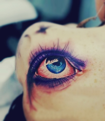 Amazing 3D Eye Tattoo On Left Back Shoulder