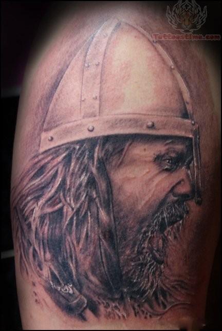 Angry Viking Tattoo On Half Sleeve