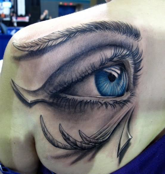 Attractive 3D Eye Tattoo On Left Back Shoulder