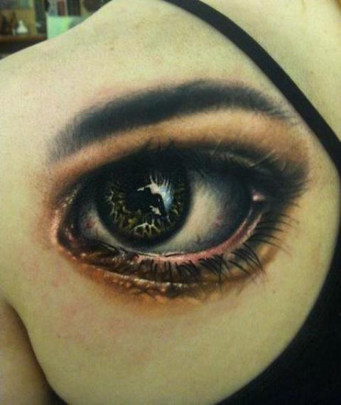 Attractive Eye Tattoo On Girl Left Back Shoulder