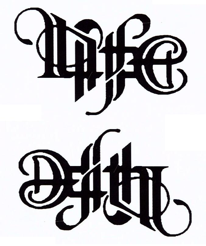 50 Life Death Tattoo Designs For Men: Awesome Life Death Lettering Tattoo Stencil By Zin
