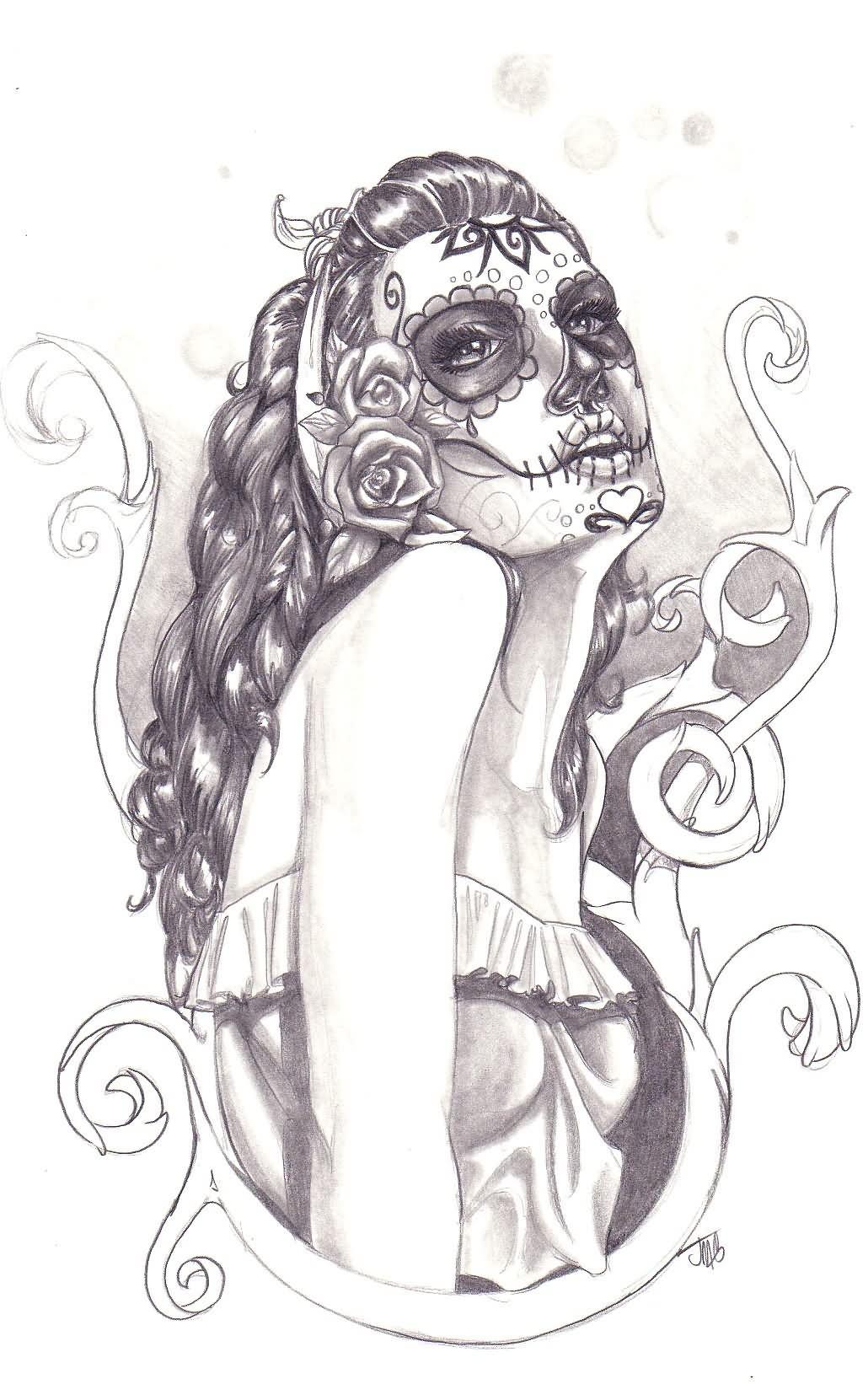 Tattoo pin up girls designs - Black And Grey Dia De Los Muertos Pin Up Girl Tattoo Design