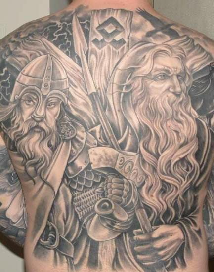 5 viking tattoos on full back. Black Bedroom Furniture Sets. Home Design Ideas
