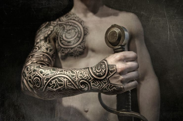Black And Grey Viking Tattoo On Full Sleeve By Peter Walrus Madsen