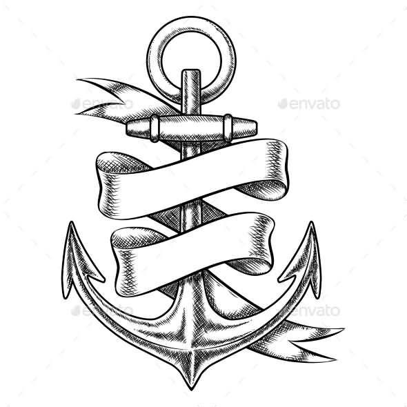 Gallery For gt Anchor With Banner Tattoo Design