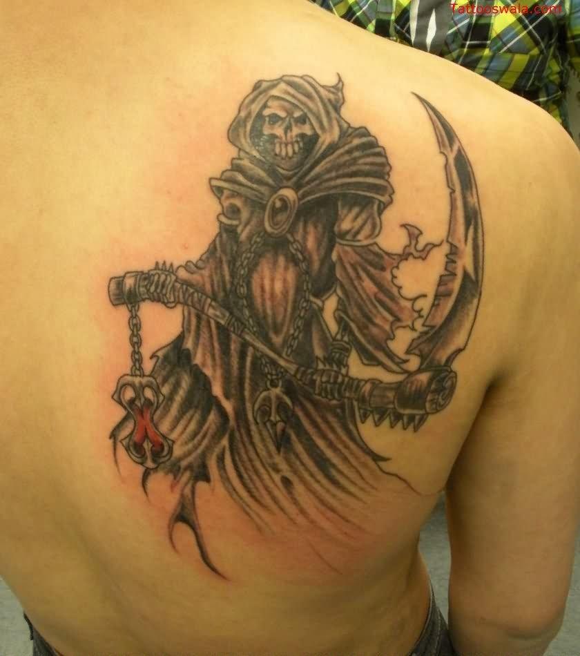 715ddd1a9 Black Ink Death Grim Reaper Tattoo On Right Back Shoulder By James Jordan