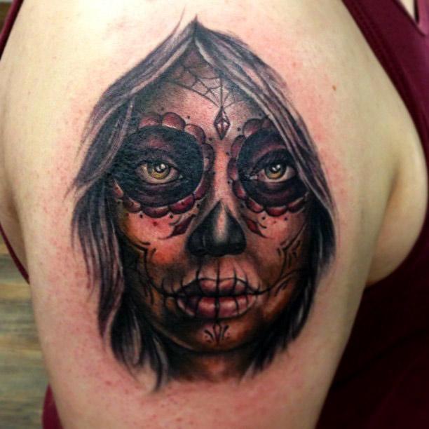 Black Ink Dia De Los Muertos Girl Face Tattoo Design For Shoulder