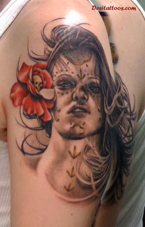 10 Black And Grey Dia De Los Muertos Tattoos On Half Sleeve