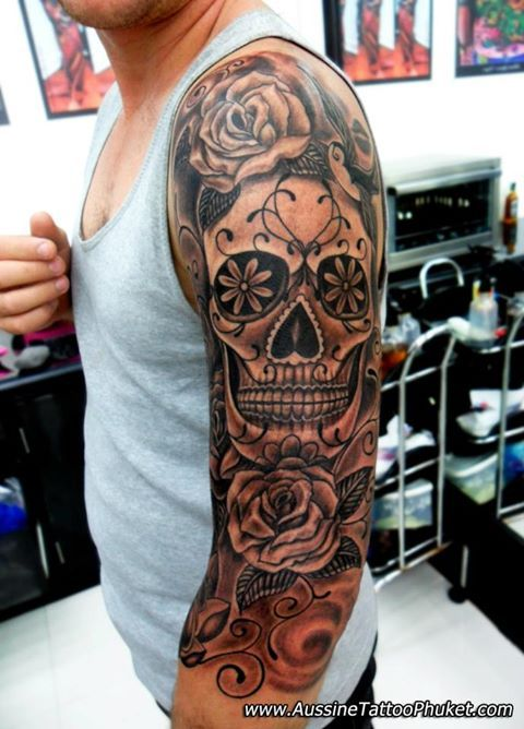 10+ Black And Grey Dia De Los Muertos Tattoos On Half Sleeve