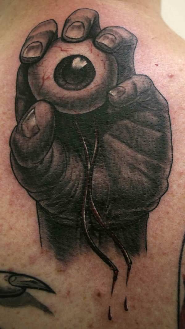Black Ink Eye In Hand Tattoo Design