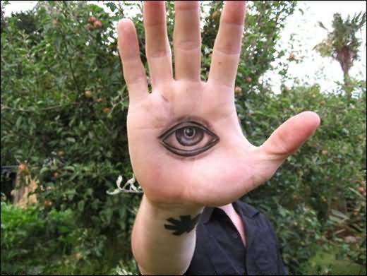 Black Ink Eye Tattoo On Hand Palm