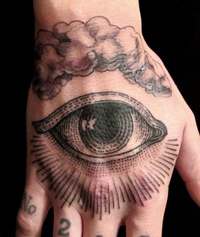 Black Ink Eye Tattoo On Hand