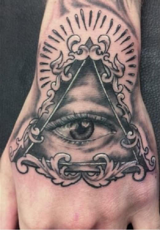 Black Ink Illuminati Eye Tattoo Design For Hand