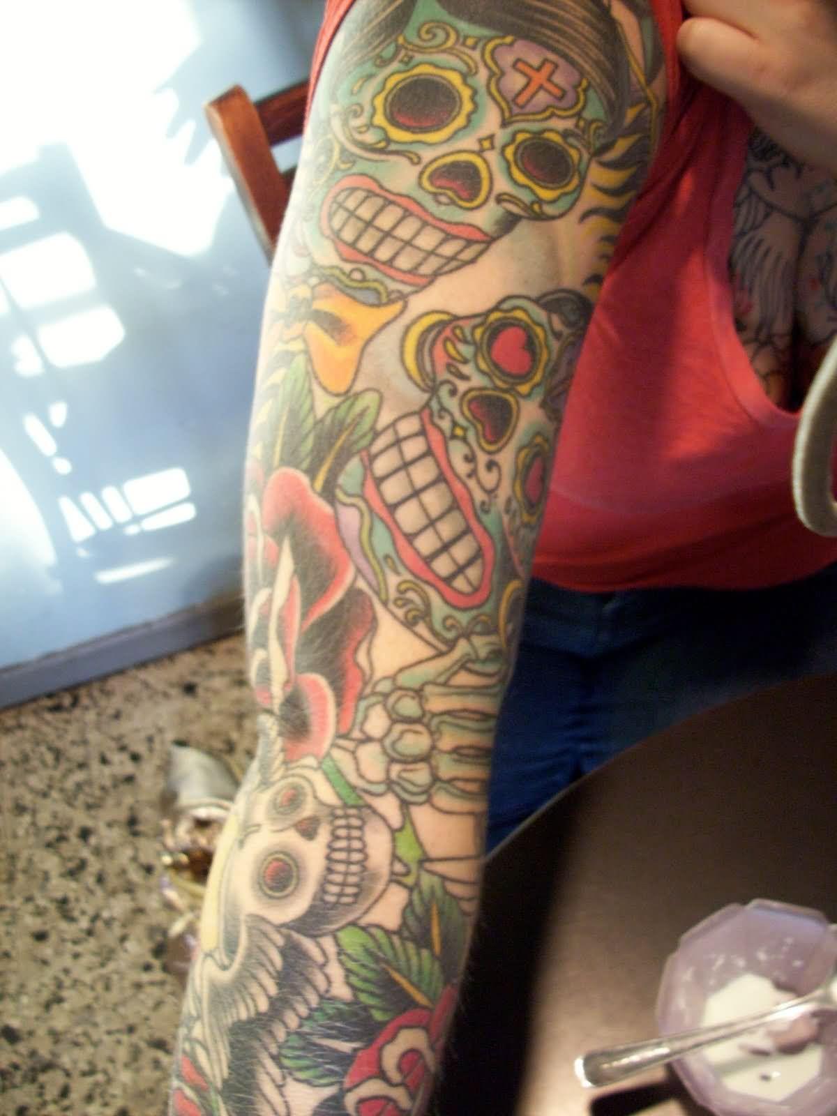 26 dia de los muertos couple tattoos for Dia de muertos tattoos