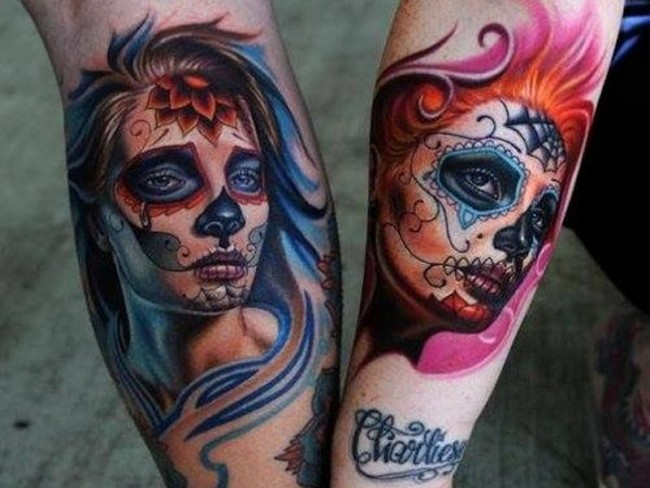 9 dia de los muertos tattoos on forearm. Black Bedroom Furniture Sets. Home Design Ideas
