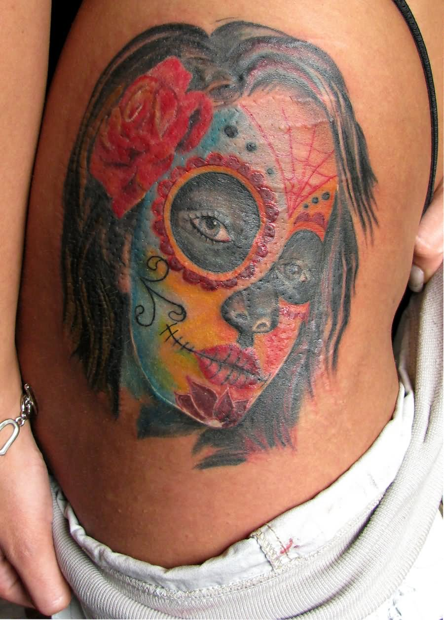 colorful dia de los muertos girl face tattoo design for side rib by dm tattoo. Black Bedroom Furniture Sets. Home Design Ideas