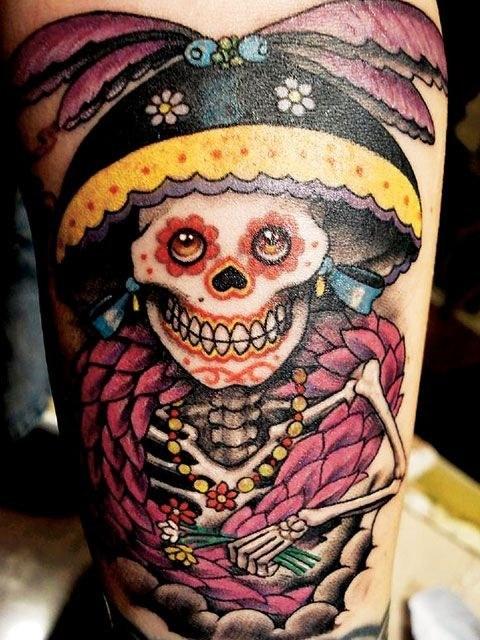6 dia de los muertos tattoos on thigh for Dia de muertos tattoos