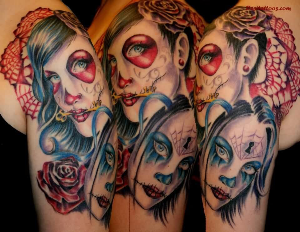 30 incredible dia de los muertos tattoos on half sleeve for Two faced tattoo